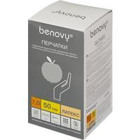 Перчатки медицинские хирургические латексные Benovy стерильные неопудренные размер 7 (100 штук в упаковке)