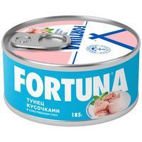 Тунец Fortuna кусочками в собственном соку 185 г