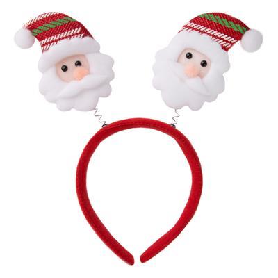 Новогодний ободок Дед Мороз с декором красный/белый/зеленый