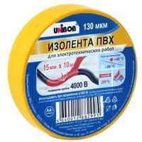 Изолента Unibob ПВХ желтая 15 мм х 10 м желтая