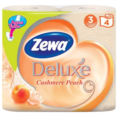 Бумага туалетная Zewa Deluxe 3-слойная персиковая (4 рулона в упаковке, артикул производителя 3276)