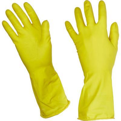 Перчатки латексные Paclan Practi с хлопковым напылением желтые (размер 7, S)