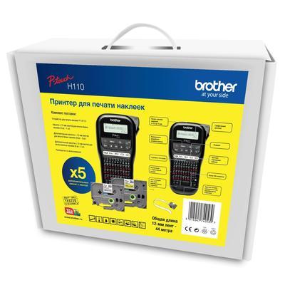 Комплект принтер этикеток ленточный Brother PTH110 и 5 кассет с лентой (PTH110R1BUND)