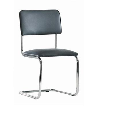 Уценка. Конференц-стул Silwia на полозьях черный (искусственная кожа/металл хромированный). уц_меб
