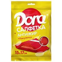 Салфетка хозяйственная Dora микрофибра 17х15 см красная