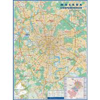 Настенная карта Москва современная с домами на рейках 1:34 000