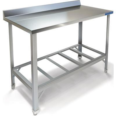 Стол производственный Техно СПП-911/1207 металлический с бортом и решетчатой полкой (1200х700х850 мм)