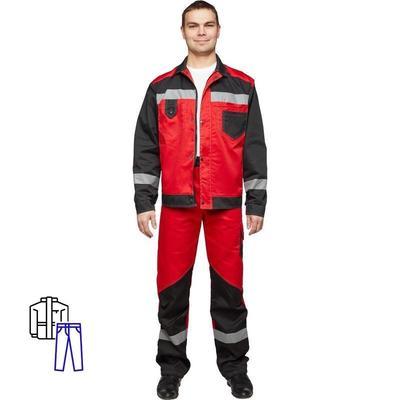 Костюм рабочий летний мужской л21-КБР с СОП красный/черный (размер 60-62, рост 182-188)