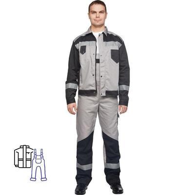 Костюм рабочий летний мужской л21-КПК с СОП серый/черный (размер 64-66, рост 170-176)