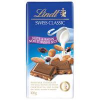 Шоколад Lindt молочный с изюмом/фундуком и миндалем 100 г