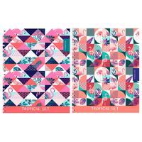 Тетрадь общая Проф-пресс Фламинго и геометрический орнамент А5 48 листов в клетку на спирали (обложка в ассортименте)