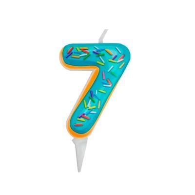 Свеча для торта Пончик Цифра 7 (6 см)