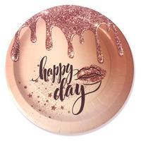Тарелка одноразовая Пати Бум Happy Day бумажная 230 мм 6 шт в упаковке