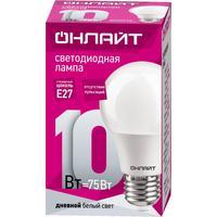 Лампа светодиодная ОНЛАЙТ 10 Вт Е 27 грушевидная 6500 К холодный белый свет