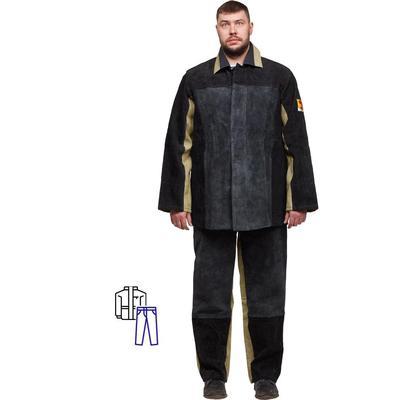 Костюм сварщика брезент-спилок летний хаки/черный (размер 60-62, рост 170-176)