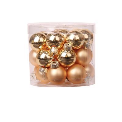 Набор елочных шаров Золотые шарики стекло (диаметр 2.5 см, 24 штуки в  упаковке)