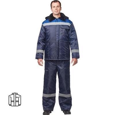 Куртка рабочая зимняя мужская з32-КУ оксфорд с СОП синяя/васильковая (размер 44-46, рост 170-176)