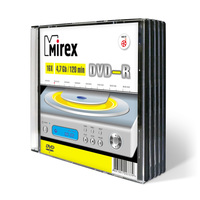 Диск DVD-R Mirex 4,7 GB 16x (5 штук в упаковке)