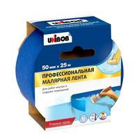 Клейкая лента малярная для наружных работ Unibob синяя 50 мм x 25 м (профессиональная)