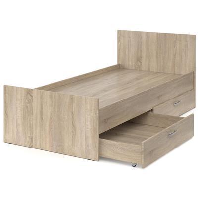 Кровать (дуб сонома, 978х800х2042 мм, 2 ящика)