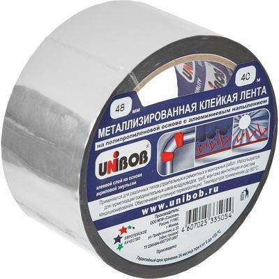 Клейкая лента металлизированная Unibob 48 мм x 40 м 50 мкм серая