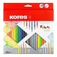Карандаши цветные Kores 26 цветов трехгранные