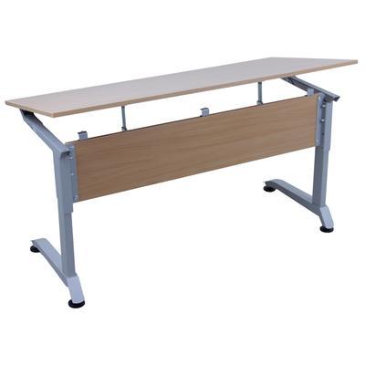 Стол ученический двухместный Прайм с регулируемым углом наклона столешницы (бук/металлик, рост 5-7)