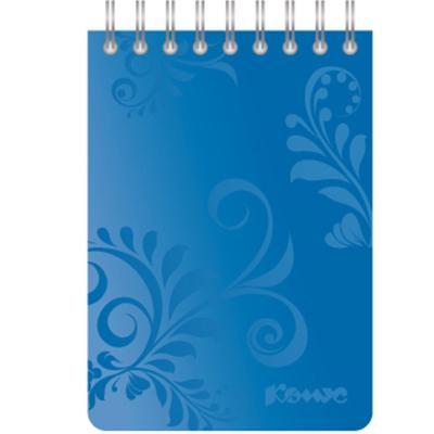 Блокнот Комус Русская серия А7 50 листов синий в клетку на евроспирали (77х118 мм)
