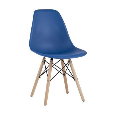 Стул для столовых Eames синий (пластик/дерево бук, 4 штуки в упаковке)