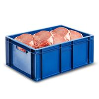 Ящик (лоток) мясной из ПНД 600х400х250 мм синий