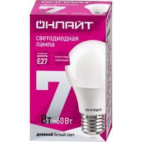 Лампа светодиодная ОНЛАЙТ 7 Вт Е 27 грушевидная 6500 К холодный белый свет