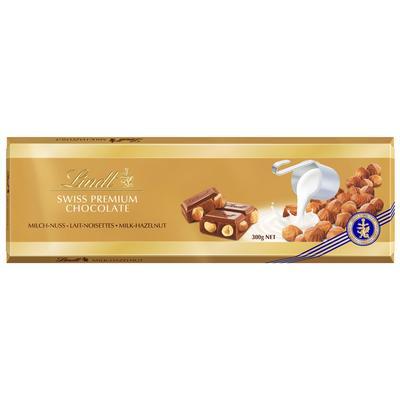 Шоколад Lindt Gold молочный с цельным фундуком 300 г