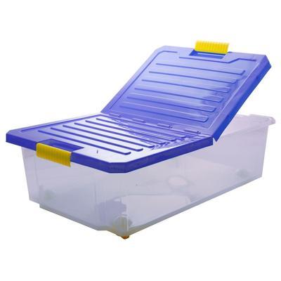 Ящик полипропиленовый Unibox на роликах синий с крышкой 616x405x202 мм