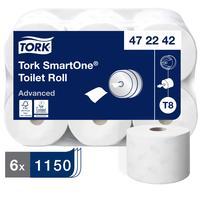 Бумага туалетная в рулонах Tork SmartOne T8 2-слойная 6 рулонов по 207 метров (артикул производителя 472242)