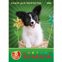 Бумага цветная Hatber ECO Любимец (А4, 8 листов, 8 цветов, офсетная)