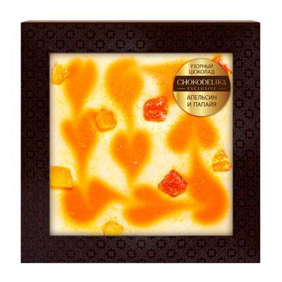 Подарочный шоколад Chokodelika белый с апельсином и папайей 80 г