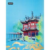 Скоросшиватель пластиковый с пружинным механизмом Attache Selection Travel China А4+ до 120 листов голубой (толщина обложки 0.5 мм)