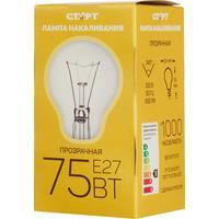 Лампа накаливания Старт 75 Вт E27 грушевидная прозрачная 2700 К теплый белый свет (10 штук в упаковке)
