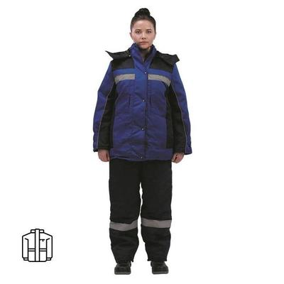 Куртка рабочая зимняя женская з07-КУ смесовая с СОП синяя/васильковая (размер 48-50, рост 170-176)
