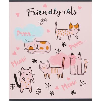 Тетрадь общая №1 School Friendly cats А5 48 листов в клетку на скрепке