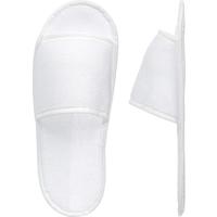 Тапочки одноразовые махровые открытый мыс подошва изодом 4 мм белые Эконом 100 пар в упаковке