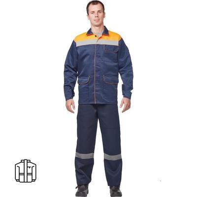 Куртка рабочая летняя мужская л03-КУ с СОП синяя/оранжевая (размер 68-70 рост 170-176)