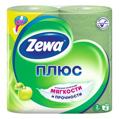 Бумага туалетная Zewa Плюс Яблоко 2-слойная зеленая (4 рулона в упаковке, артикул производителя 144004)