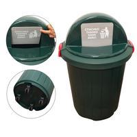 Бак для отходов 105 л пластиковый зеленый (с крышкой, на колесах)