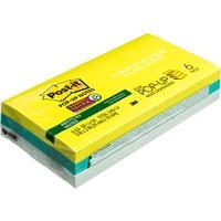 Стикеры Z-сложения Post-it Super Sticky 76х76 мм неоновые 3 цвета для диспенсера (6 блоков по 90 листов)