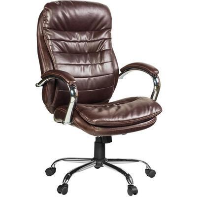 Кресло для руководителя Easy Chair 515 RT темно-коричневое (рециклированная кожа с компаньоном, металл)
