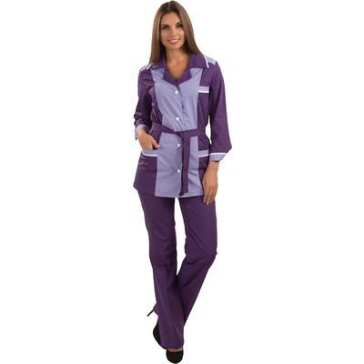 Костюм для горничных и уборщиц у09-КБР фиолетовый/светло-сиреневый (размер 48-50, рост 170-176)