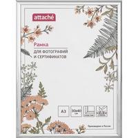 Рамка Attache A3 30x40 см пластиковый багет 14 мм серебристая (стекло)