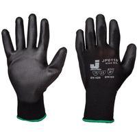 Перчатки рабочие JetaSafety нейлоновые с полиуретаном черные (размер 8, М, 12 пар в упаковке)