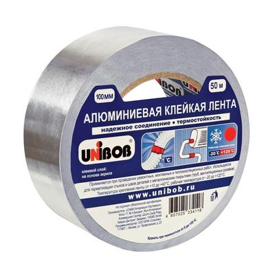 Клейкая лента алюминиевая Unibob серая 100 мм x 50 м толщина 70 мкм